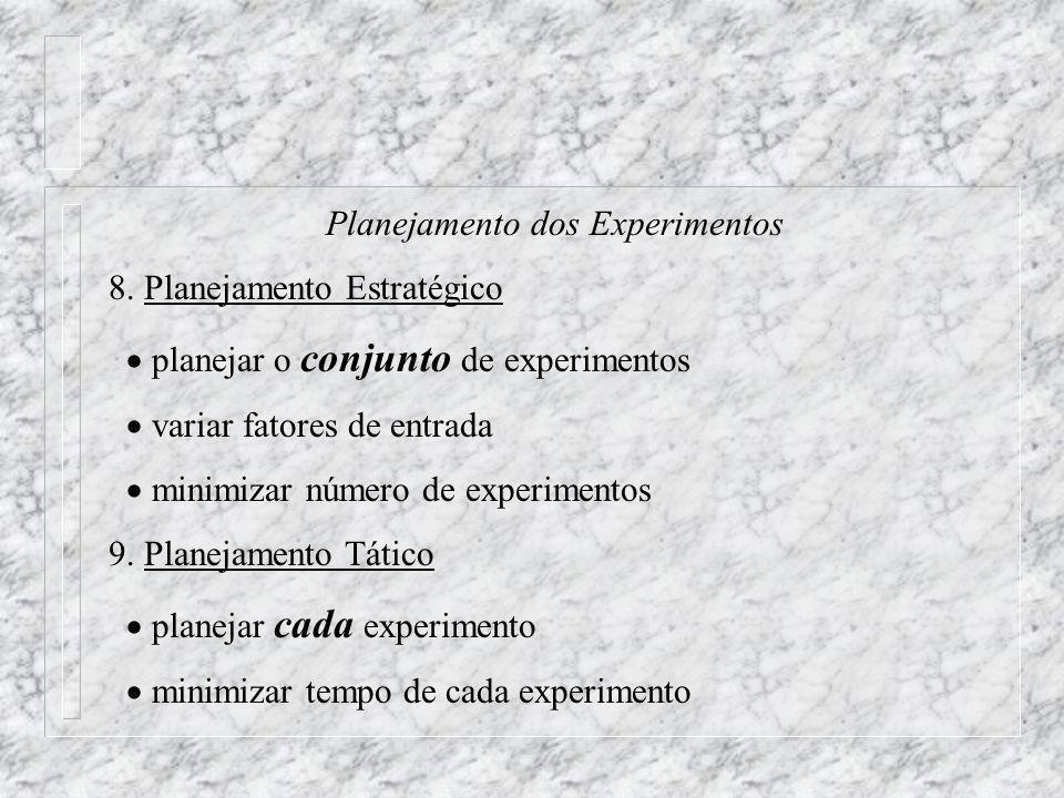 Planejamento dos Experimentos 8. Planejamento Estratégico planejar o conjunto de experimentos variar fatores de entrada minimizar número de experiment