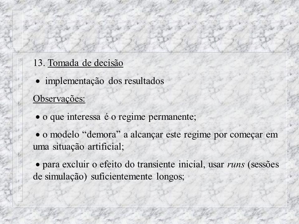13. Tomada de decisão implementação dos resultados Observações: o que interessa é o regime permanente; o modelo demora a alcançar este regime por come