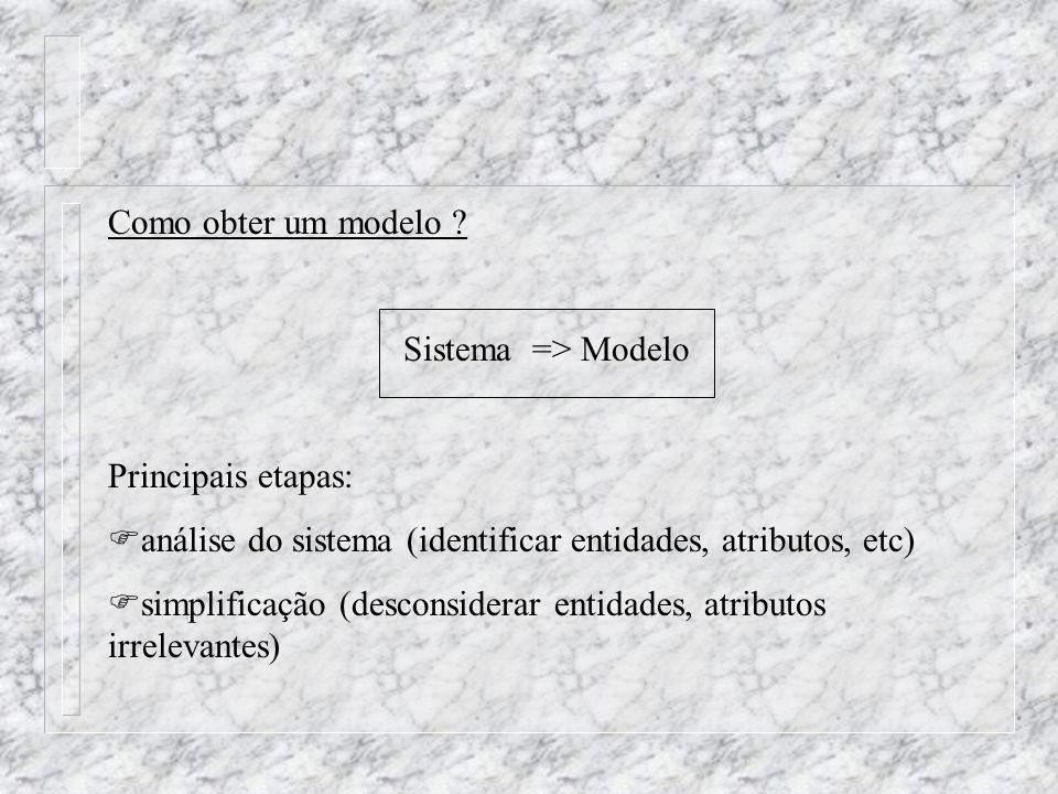 Como obter um modelo ? Sistema => Modelo Principais etapas: análise do sistema (identificar entidades, atributos, etc) simplificação (desconsiderar en