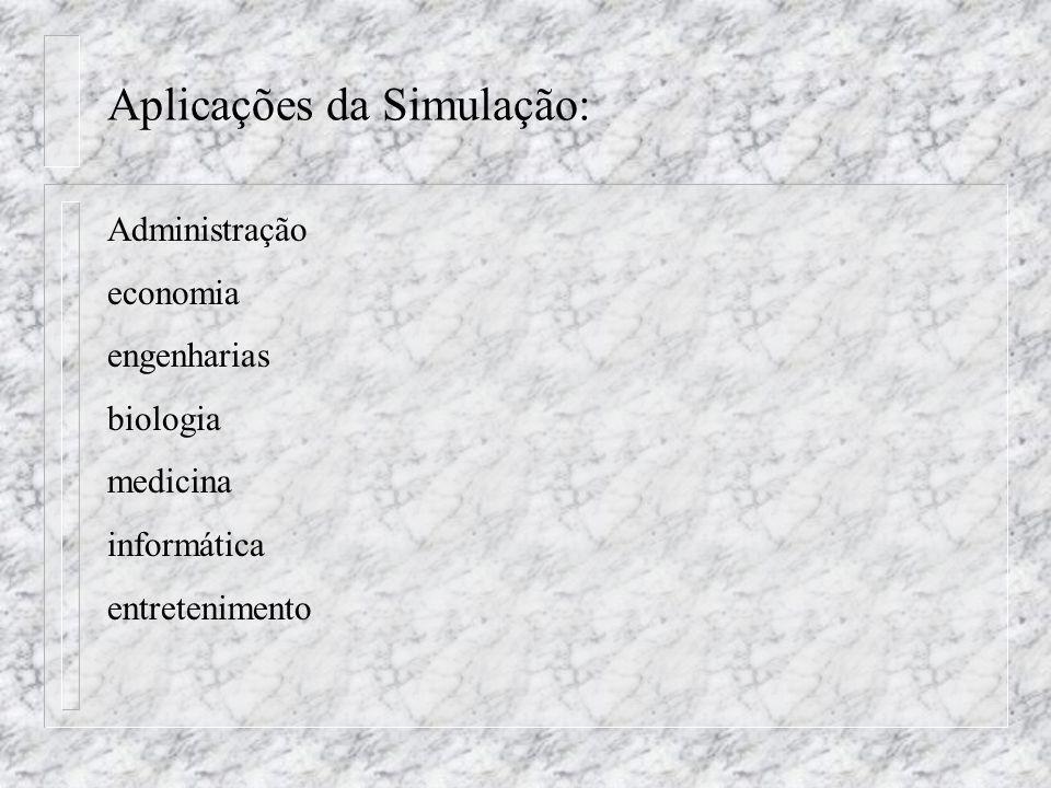Aplicações da Simulação: Administração economia engenharias biologia medicina informática entretenimento