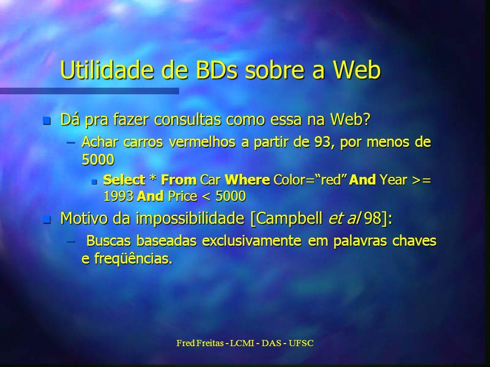 Fred Freitas - LCMI - DAS - UFSC Utilidade de BDs sobre a Web n Dá pra fazer consultas como essa na Web.