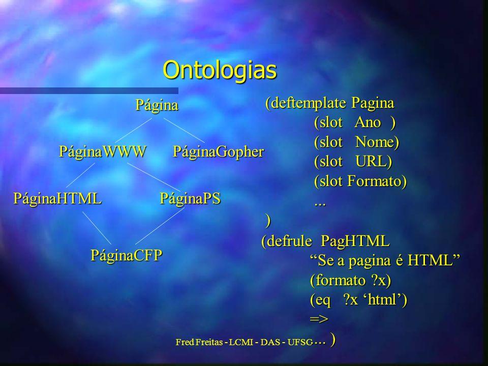 Fred Freitas - LCMI - DAS - UFSC Ontologias Página PáginaWWW PáginaGopher PáginaHTMLPáginaPS PáginaCFP (deftemplate Pagina (slot Ano ) (slot Nome) (slot URL) (slot Formato)...) (defrule PagHTML Se a pagina é HTML (formato ?x) (eq ?x html) =>....
