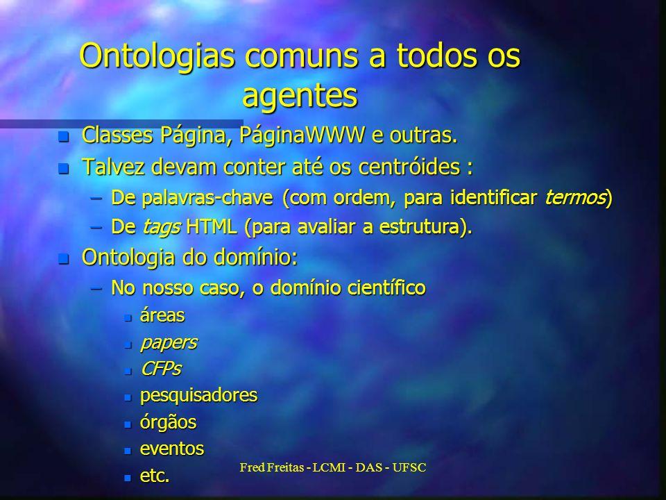 Fred Freitas - LCMI - DAS - UFSC Ontologias comuns a todos os agentes n Classes Página, PáginaWWW e outras.