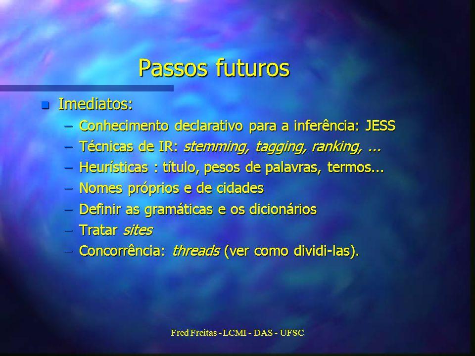 Fred Freitas - LCMI - DAS - UFSC Passos futuros n Imediatos: –Conhecimento declarativo para a inferência: JESS –Técnicas de IR: stemming, tagging, ranking,...