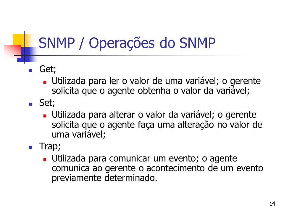 14 SNMP / Operações do SNMP Get; Utilizada para ler o valor de uma variável; o gerente solicita que o agente obtenha o valor da variável; Set; Utiliza