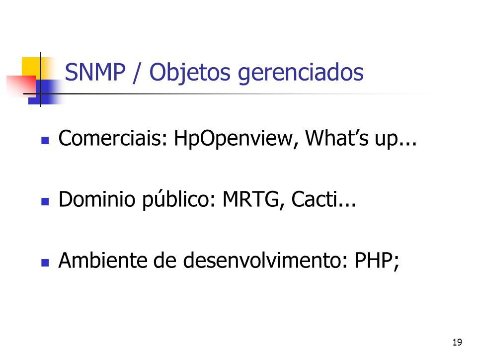 19 SNMP / Objetos gerenciados Comerciais: HpOpenview, Whats up... Dominio público: MRTG, Cacti... Ambiente de desenvolvimento: PHP;
