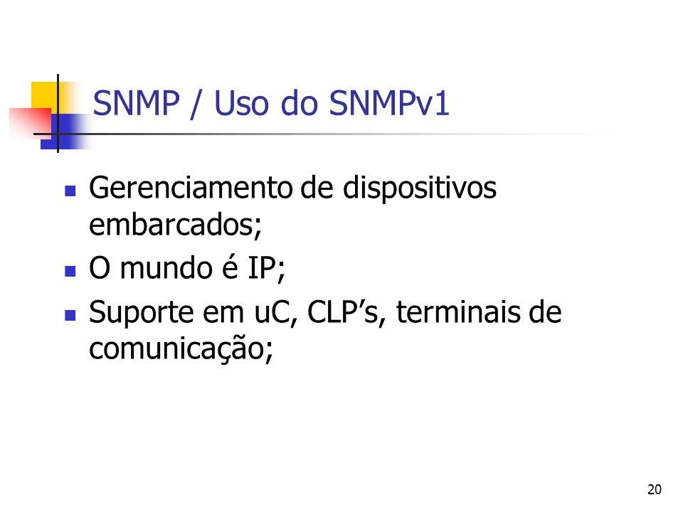 20 SNMP / Uso do SNMPv1 Gerenciamento de dispositivos embarcados; O mundo é IP; Suporte em uC, CLPs, terminais de comunicação;