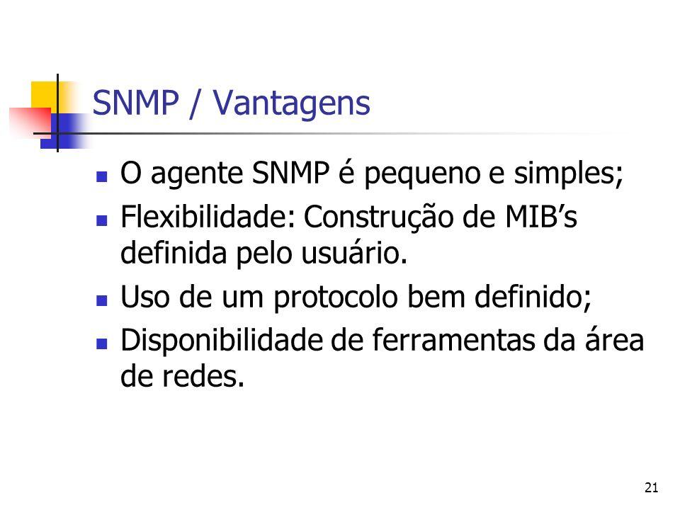 21 SNMP / Vantagens O agente SNMP é pequeno e simples; Flexibilidade: Construção de MIBs definida pelo usuário. Uso de um protocolo bem definido; Disp