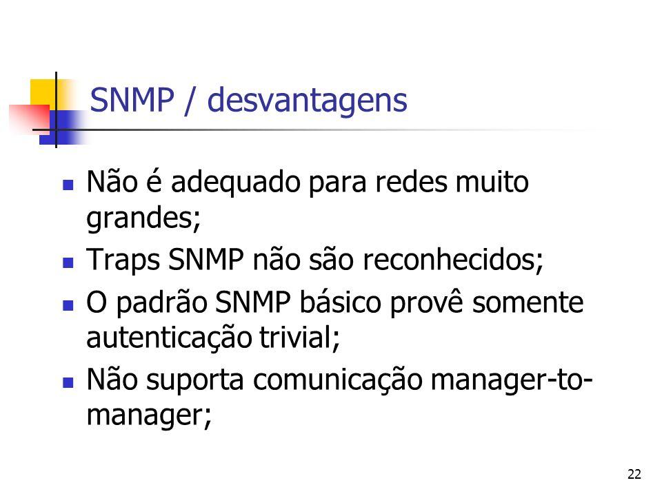 22 SNMP / desvantagens Não é adequado para redes muito grandes; Traps SNMP não são reconhecidos; O padrão SNMP básico provê somente autenticação trivi