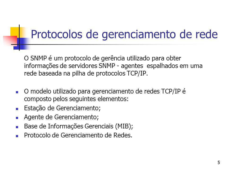 5 Protocolos de gerenciamento de rede O SNMP é um protocolo de gerência utilizado para obter informações de servidores SNMP - agentes espalhados em um