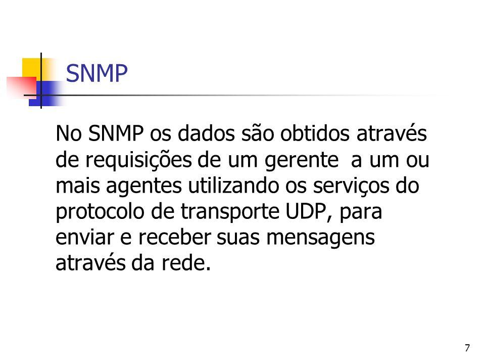 7 SNMP No SNMP os dados são obtidos através de requisições de um gerente a um ou mais agentes utilizando os serviços do protocolo de transporte UDP, p