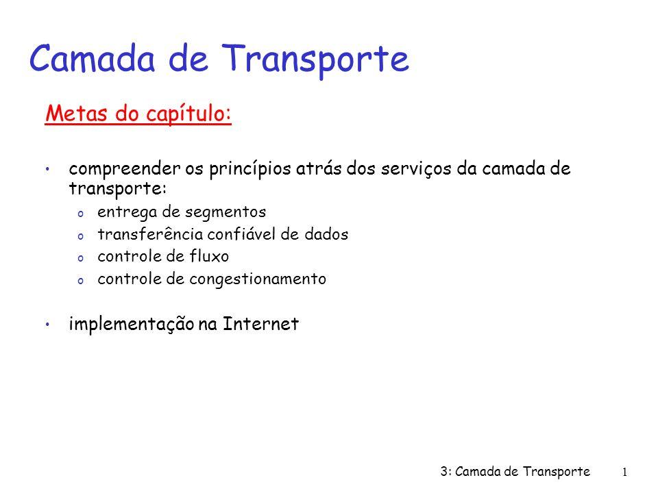 3: Camada de Transporte1 Metas do capítulo: compreender os princípios atrás dos serviços da camada de transporte: o entrega de segmentos o transferência confiável de dados o controle de fluxo o controle de congestionamento implementação na Internet Camada de Transporte