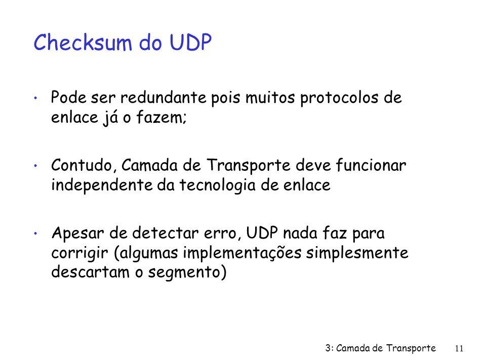 3: Camada de Transporte11 Checksum do UDP Pode ser redundante pois muitos protocolos de enlace já o fazem; Contudo, Camada de Transporte deve funcionar independente da tecnologia de enlace Apesar de detectar erro, UDP nada faz para corrigir (algumas implementações simplesmente descartam o segmento)
