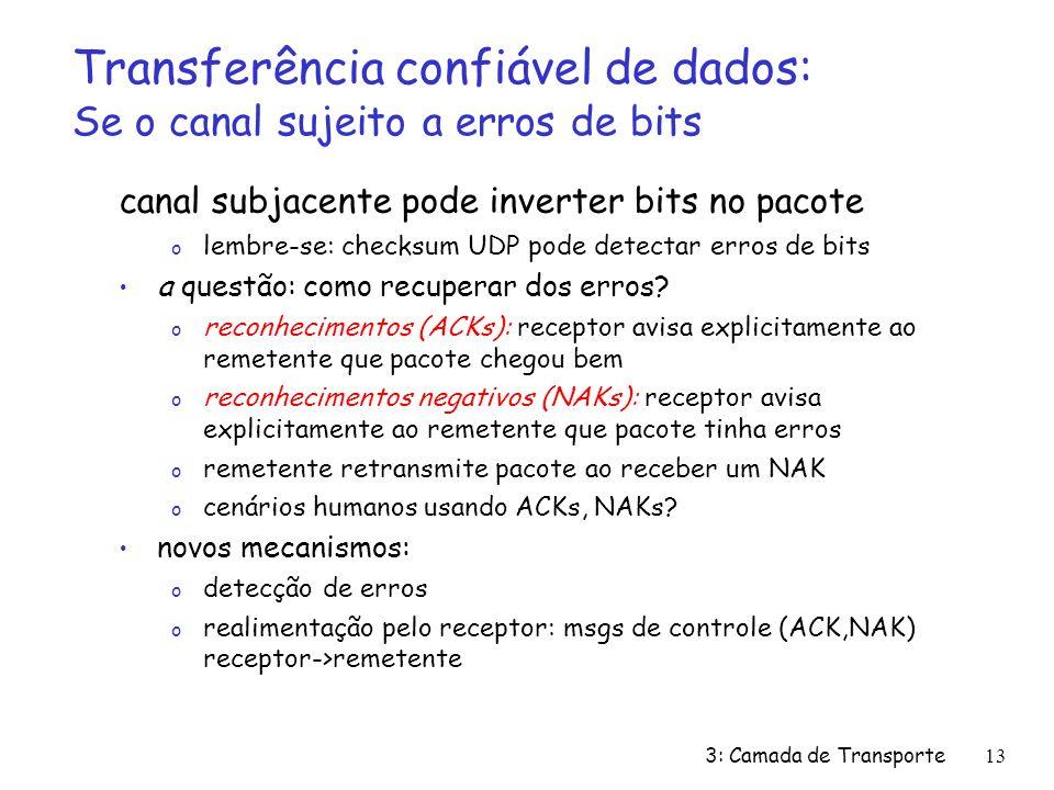 3: Camada de Transporte13 Transferência confiável de dados: Se o canal sujeito a erros de bits canal subjacente pode inverter bits no pacote o lembre-se: checksum UDP pode detectar erros de bits a questão: como recuperar dos erros.