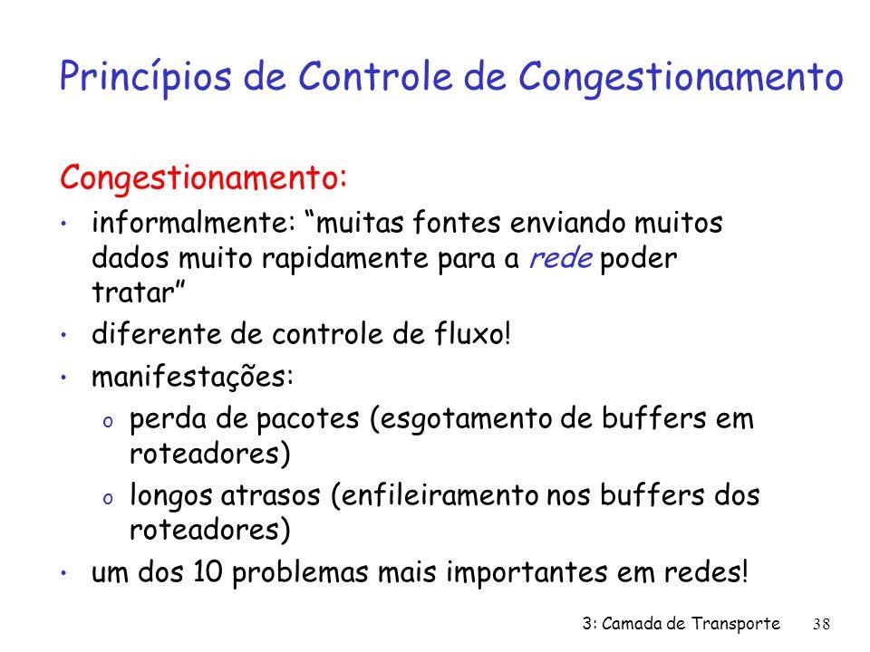 3: Camada de Transporte38 Princípios de Controle de Congestionamento Congestionamento: informalmente: muitas fontes enviando muitos dados muito rapidamente para a rede poder tratar diferente de controle de fluxo.