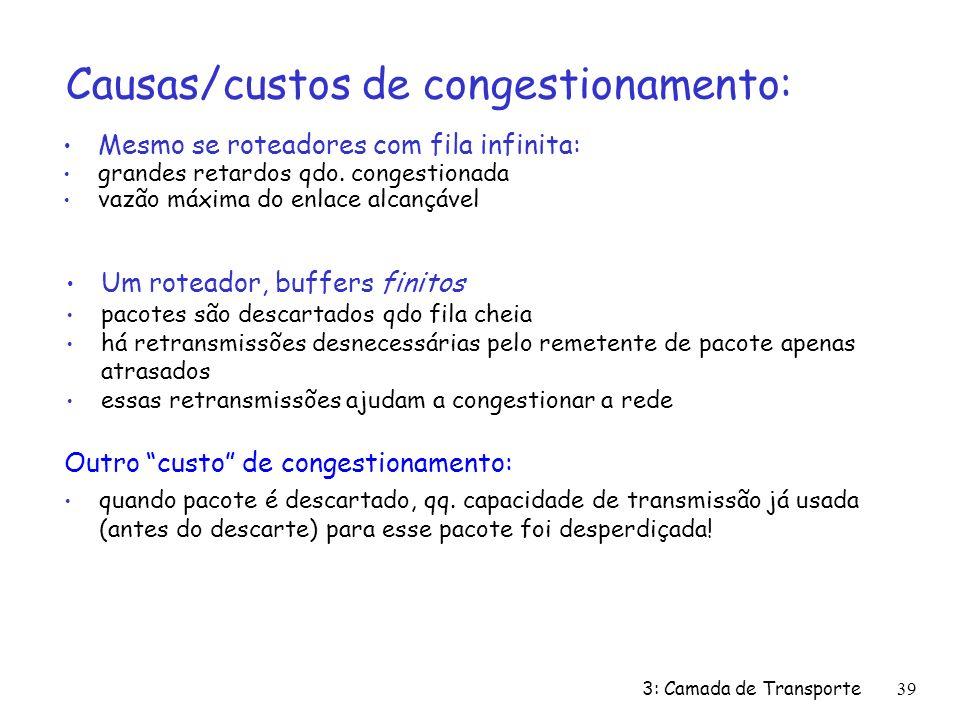 3: Camada de Transporte39 Causas/custos de congestionamento: Mesmo se roteadores com fila infinita: grandes retardos qdo.