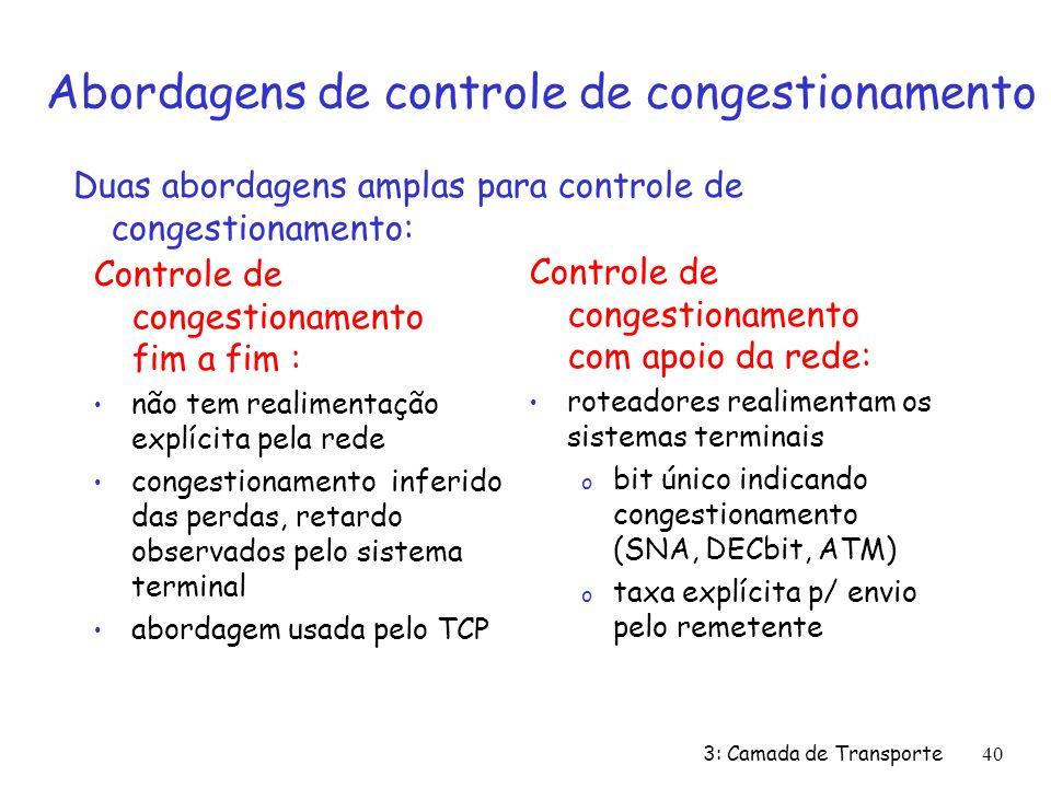 3: Camada de Transporte40 Abordagens de controle de congestionamento Controle de congestionamento fim a fim : não tem realimentação explícita pela red