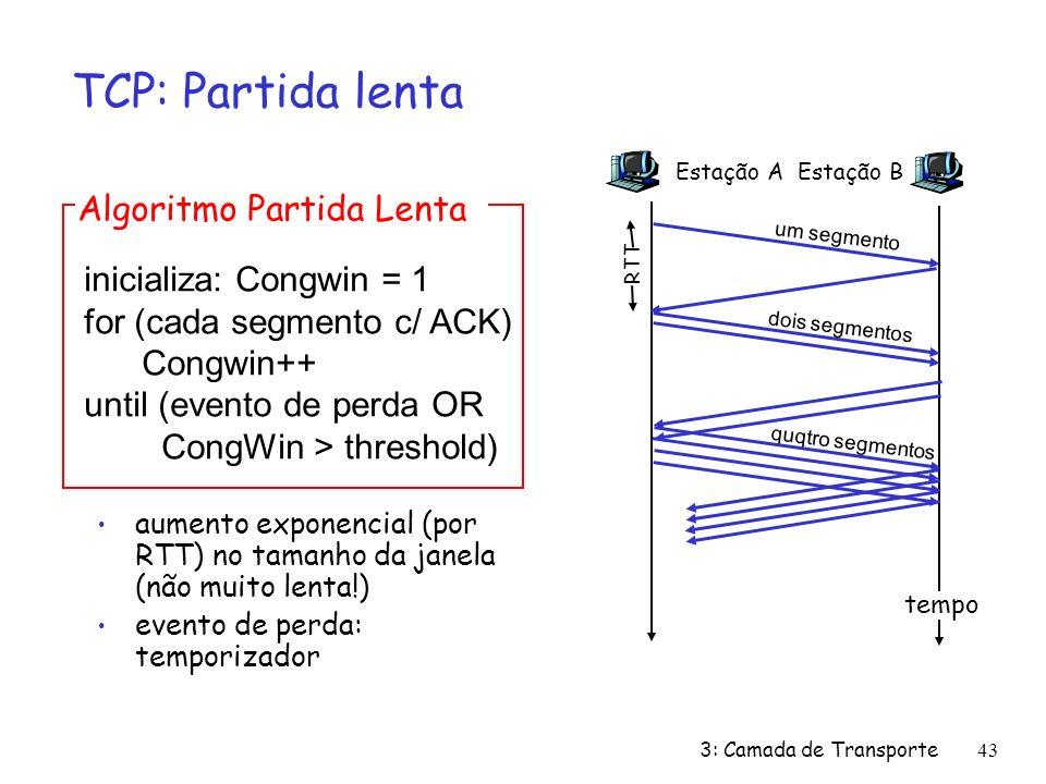 3: Camada de Transporte43 TCP: Partida lenta aumento exponencial (por RTT) no tamanho da janela (não muito lenta!) evento de perda: temporizador inici