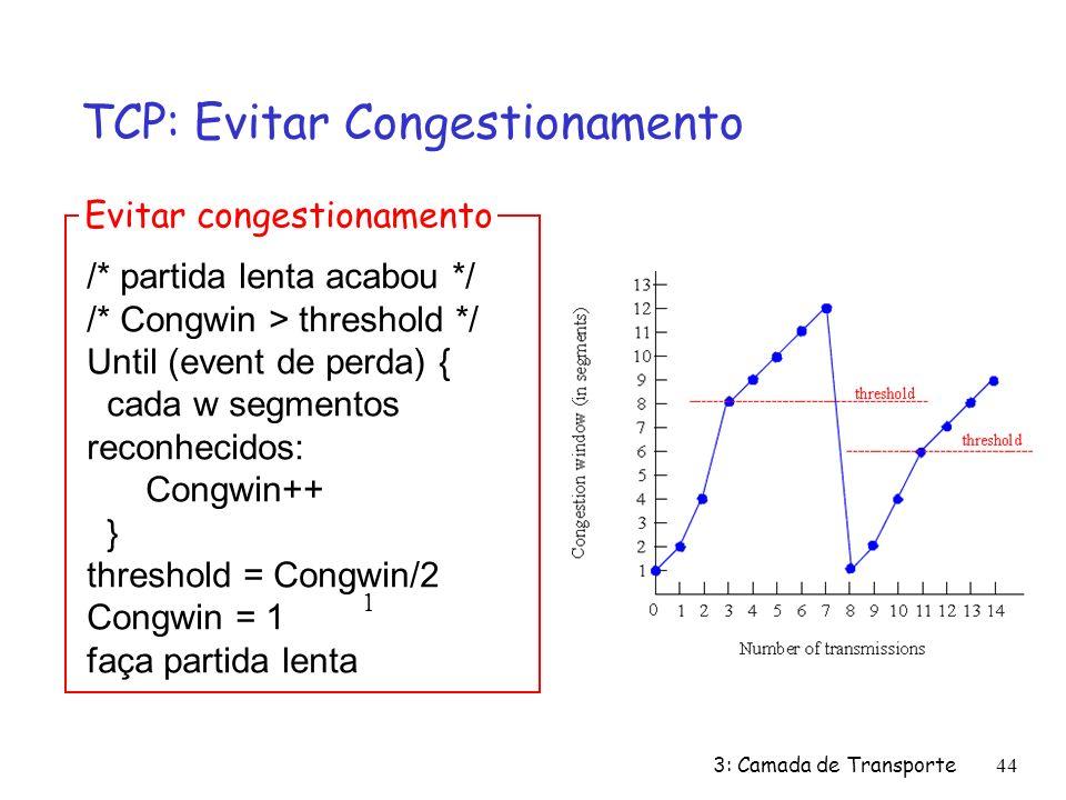 3: Camada de Transporte44 TCP: Evitar Congestionamento /* partida lenta acabou */ /* Congwin > threshold */ Until (event de perda) { cada w segmentos