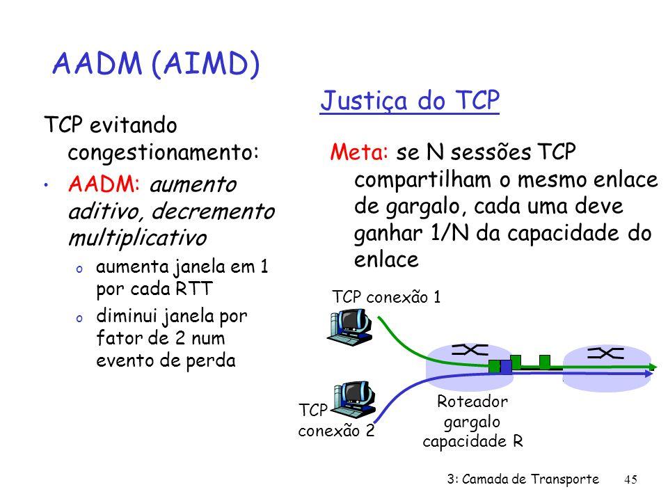 3: Camada de Transporte45 Justiça do TCP Meta: se N sessões TCP compartilham o mesmo enlace de gargalo, cada uma deve ganhar 1/N da capacidade do enla