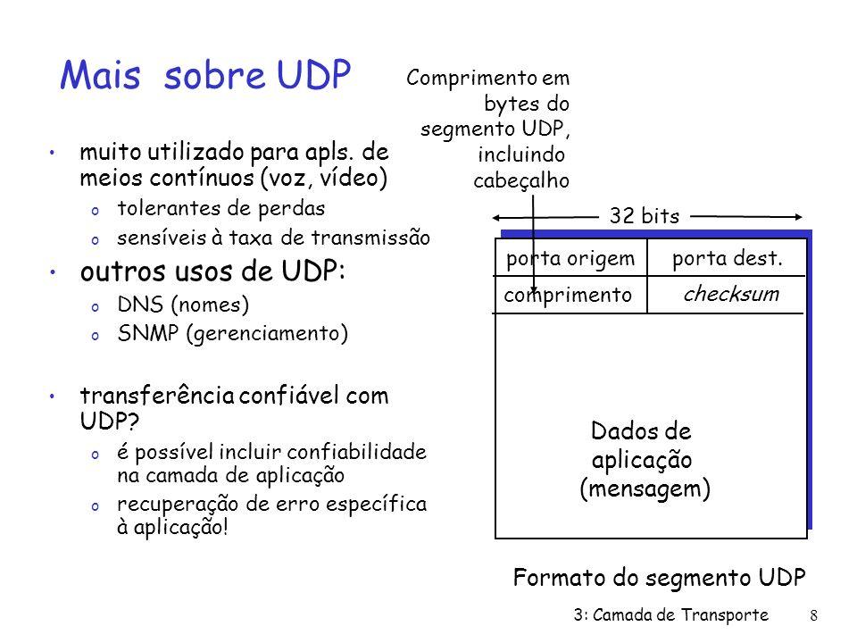3: Camada de Transporte9 Checksum UDP Remetente: trata conteúdo do segmento como seqüência de inteiros de 16-bits campo checksum zerado checksum: soma do conteúdo do segmento remetente coloca complemento do valor da soma no campo checksum de UDP Receptor: calcula checksum do segmento recebido verifica se checksum computado é tudo 1: o NÃO - erro detectado o SIM - nenhum erro detectado.