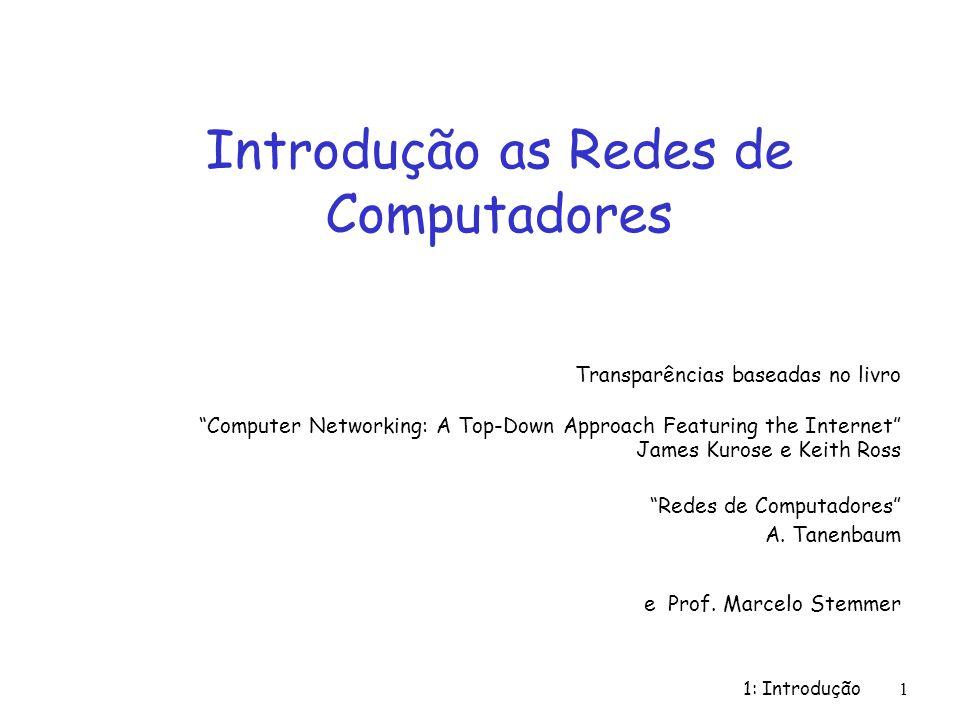 1: Introdução 1 Introdução as Redes de Computadores Transparências baseadas no livro Computer Networking: A Top-Down Approach Featuring the Internet J