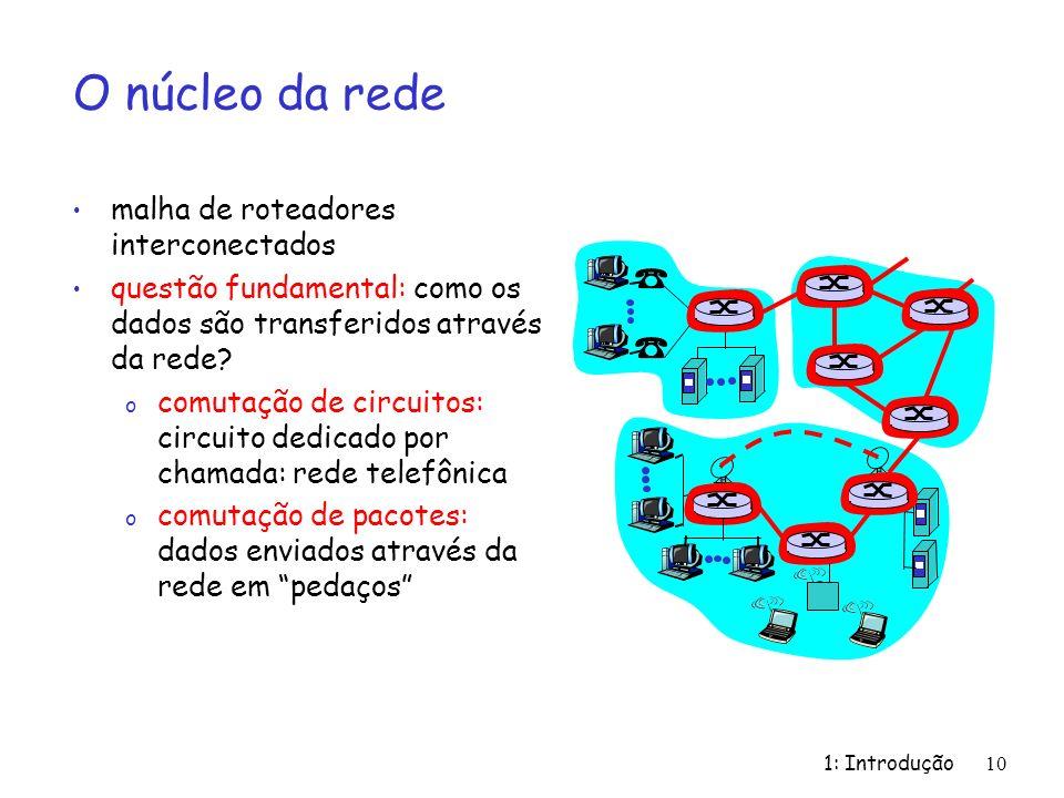 1: Introdução 10 O núcleo da rede malha de roteadores interconectados questão fundamental: como os dados são transferidos através da rede? o comutação