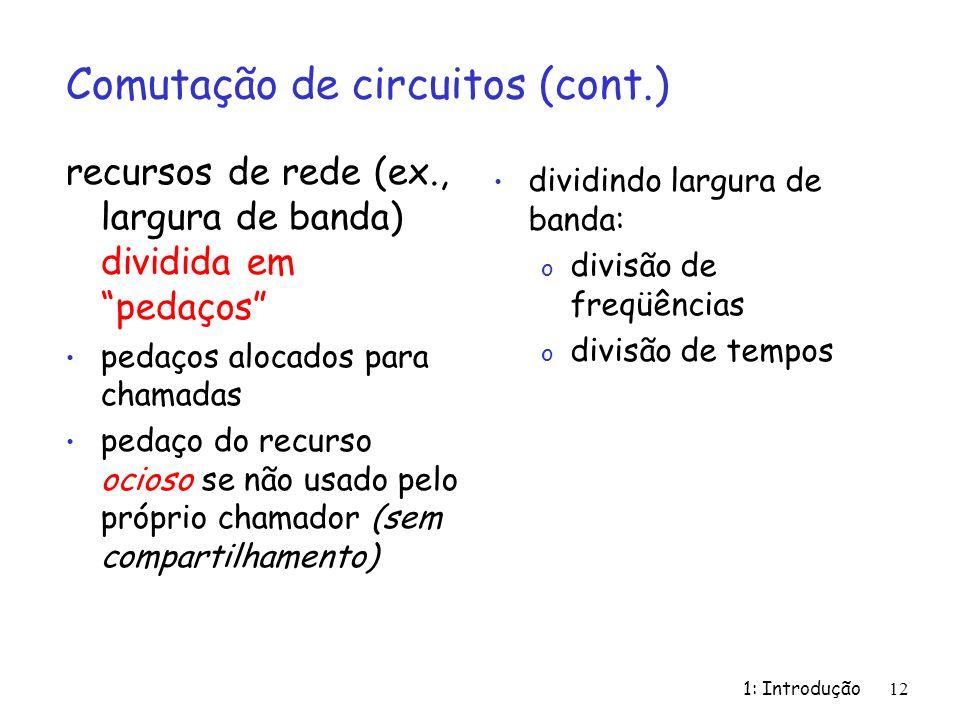 1: Introdução 12 Comutação de circuitos (cont.) recursos de rede (ex., largura de banda) dividida em pedaços pedaços alocados para chamadas pedaço do