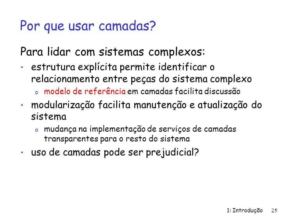 1: Introdução 25 Por que usar camadas? Para lidar com sistemas complexos: estrutura explícita permite identificar o relacionamento entre peças do sist