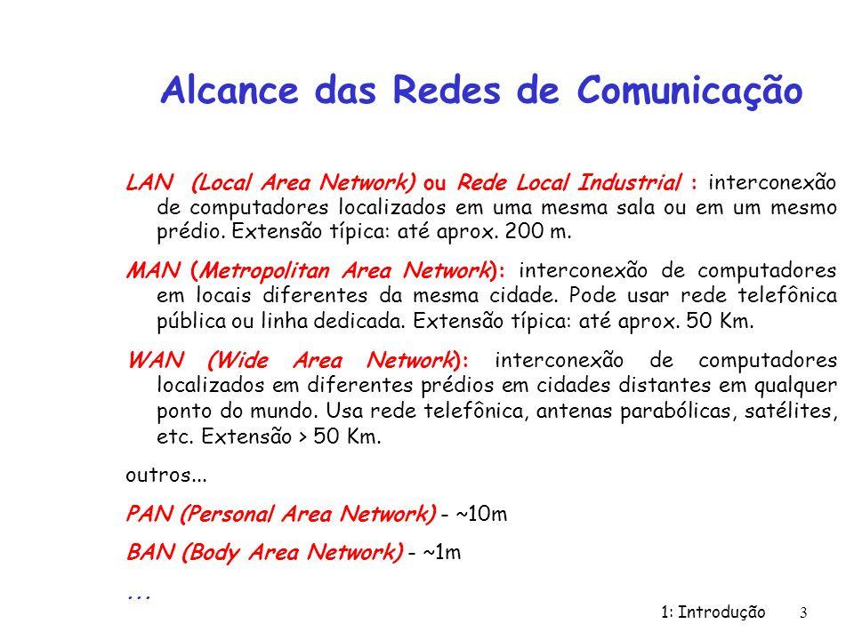 1: Introdução 4 Topologia das Redes de Comunicação - Topologia: definição da maneira como as estações estão associadas - Duas formas básicas: ponto-a-ponto e difusão - Canais ponto-a-ponto: rede composta de diversas linhas de comunicação associadas a um par de estações.