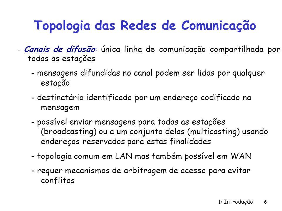 1: Introdução 6 Topologia das Redes de Comunicação - Canais de difusão: única linha de comunicação compartilhada por todas as estações - mensagens dif