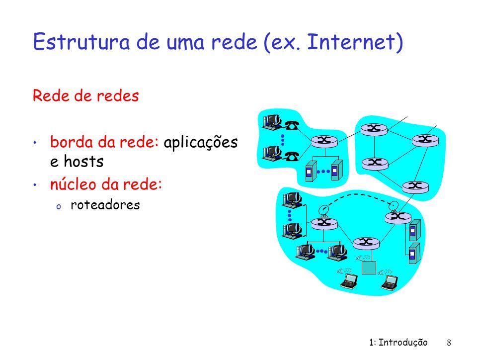 1: Introdução 8 Estrutura de uma rede (ex. Internet) Rede de redes borda da rede: aplicações e hosts núcleo da rede: o roteadores