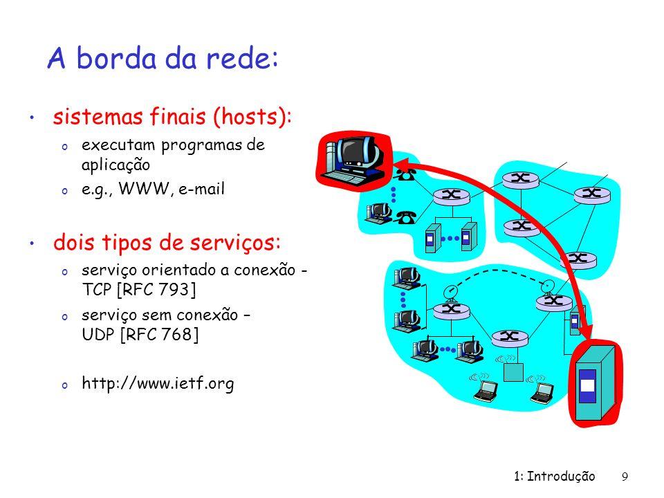 1: Introdução 9 A borda da rede: sistemas finais (hosts): o executam programas de aplicação o e.g., WWW, e-mail dois tipos de serviços: o serviço orie