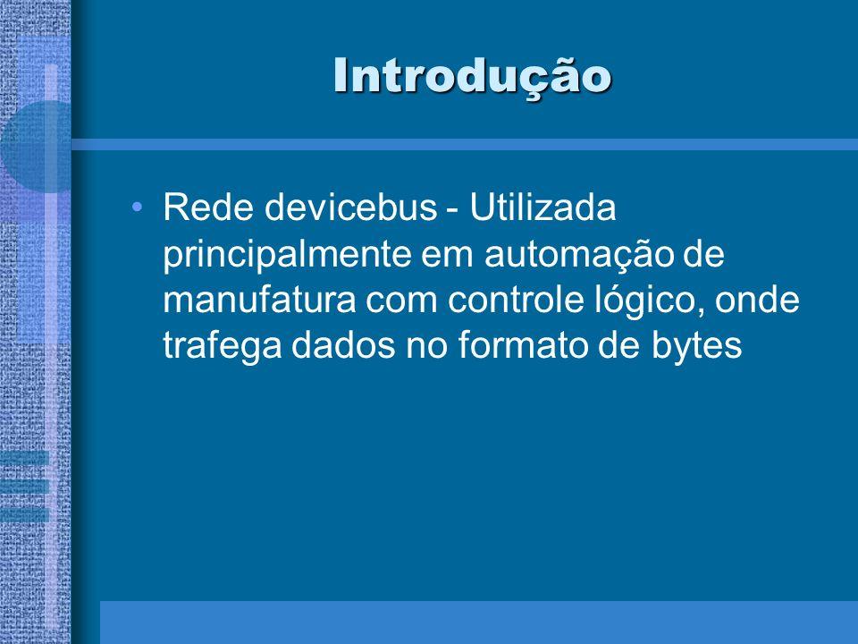 Introdução Rede devicebus - Utilizada principalmente em automação de manufatura com controle lógico, onde trafega dados no formato de bytes