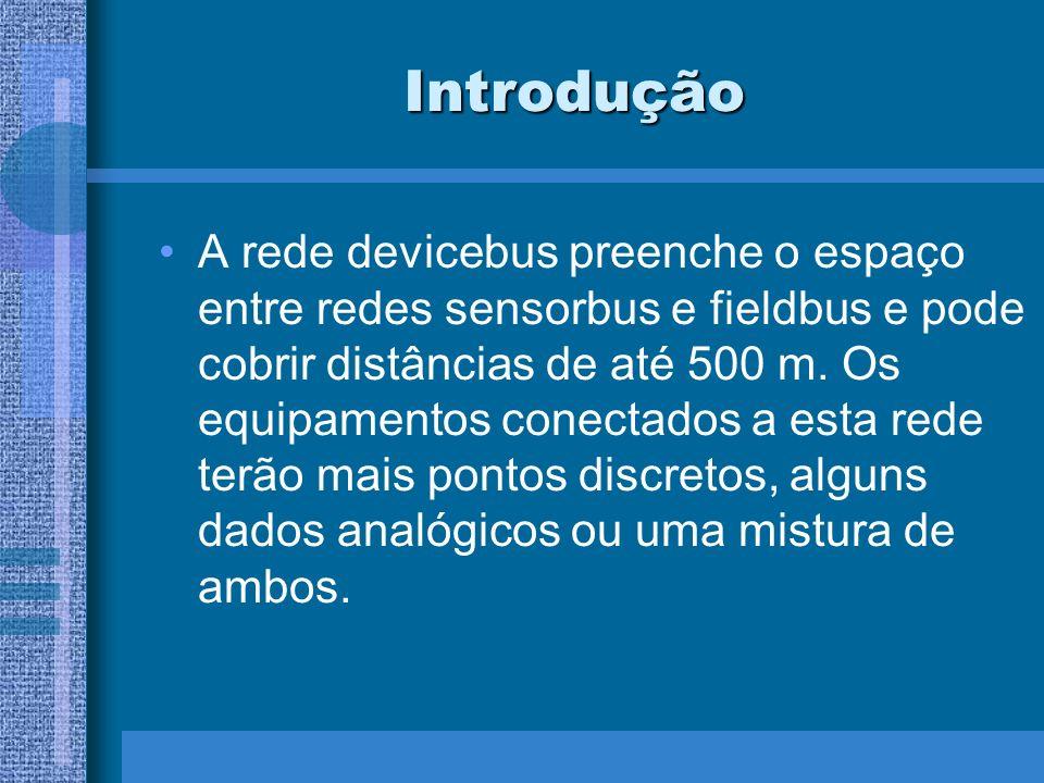 Introdução A rede devicebus preenche o espaço entre redes sensorbus e fieldbus e pode cobrir distâncias de até 500 m. Os equipamentos conectados a est