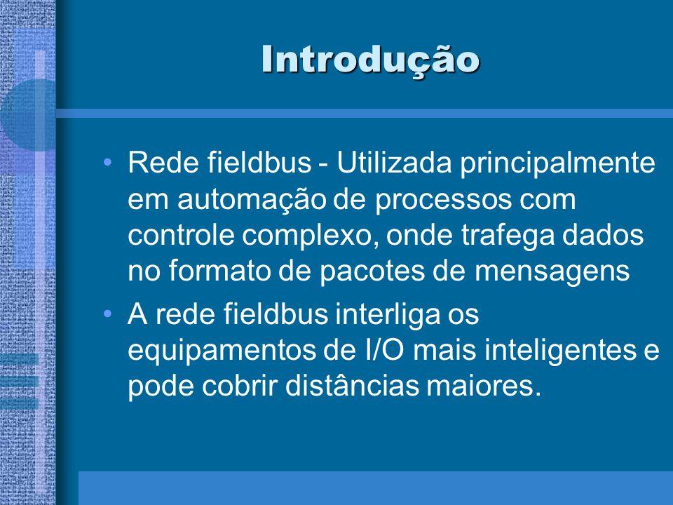 Introdução Rede fieldbus - Utilizada principalmente em automação de processos com controle complexo, onde trafega dados no formato de pacotes de mensa