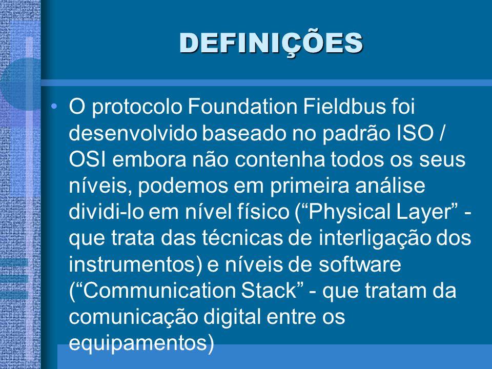 DEFINIÇÕES O protocolo Foundation Fieldbus foi desenvolvido baseado no padrão ISO / OSI embora não contenha todos os seus níveis, podemos em primeira