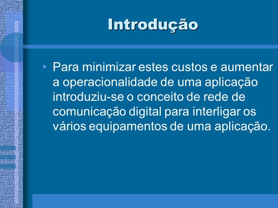 Introdução Para minimizar estes custos e aumentar a operacionalidade de uma aplicação introduziu-se o conceito de rede de comunicação digital para int