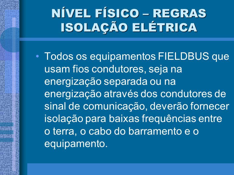 NÍVEL FÍSICO – REGRAS ISOLAÇÃO ELÉTRICA Todos os equipamentos FIELDBUS que usam fios condutores, seja na energização separada ou na energização atravé