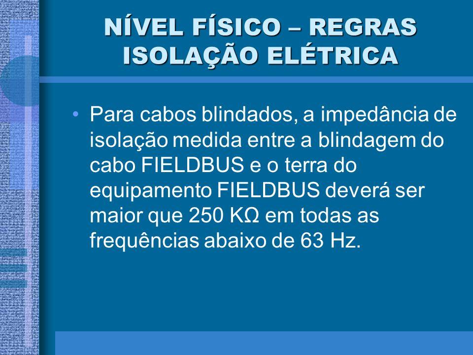 NÍVEL FÍSICO – REGRAS ISOLAÇÃO ELÉTRICA Para cabos blindados, a impedância de isolação medida entre a blindagem do cabo FIELDBUS e o terra do equipame