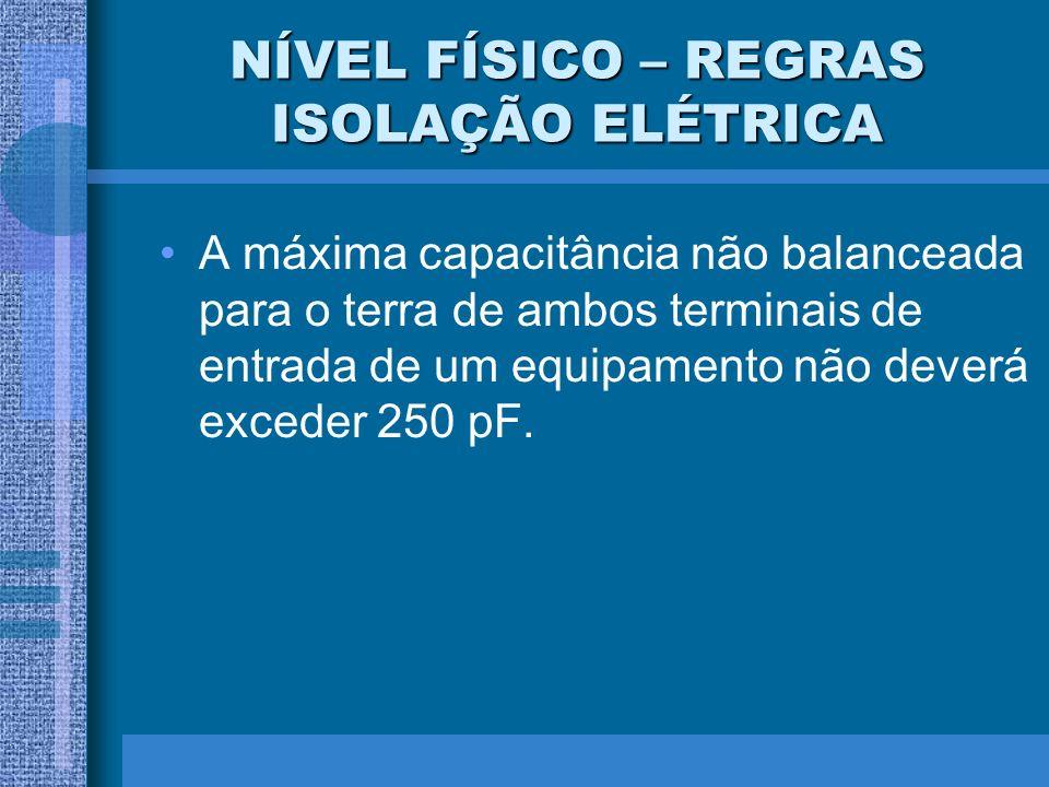NÍVEL FÍSICO – REGRAS ISOLAÇÃO ELÉTRICA A máxima capacitância não balanceada para o terra de ambos terminais de entrada de um equipamento não deverá e