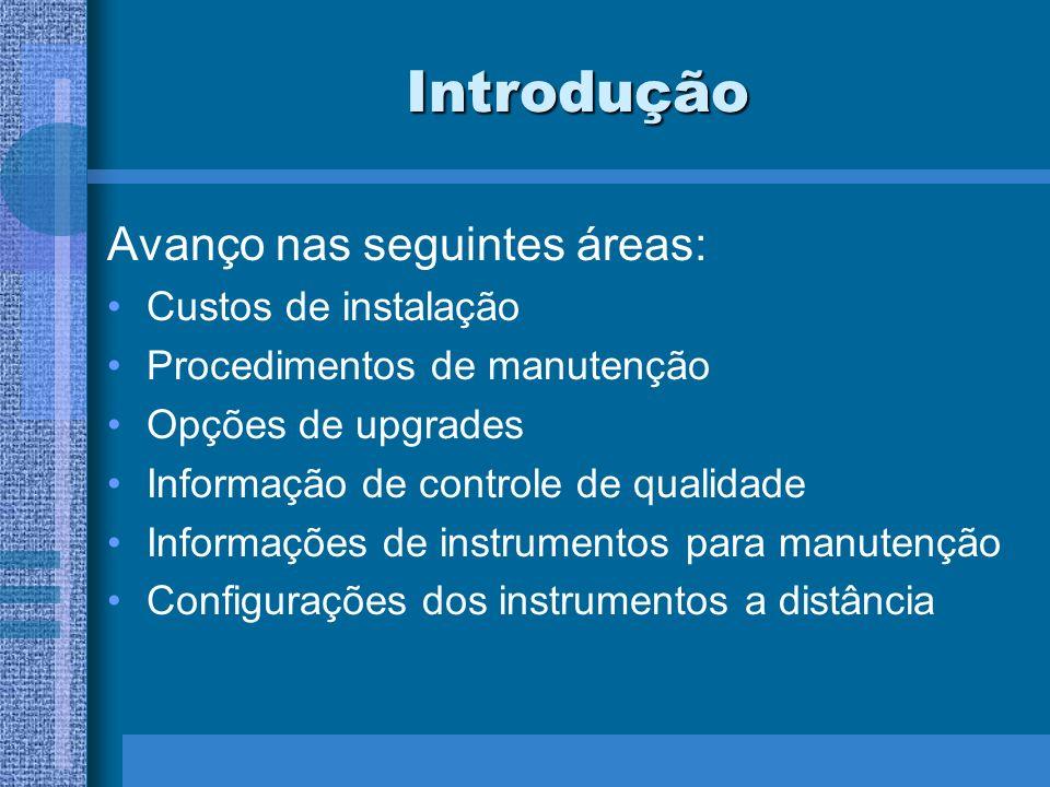 Introdução Avanço nas seguintes áreas: Custos de instalação Procedimentos de manutenção Opções de upgrades Informação de controle de qualidade Informa