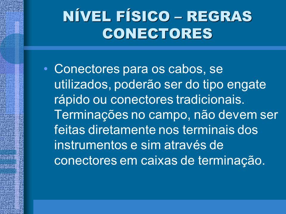 NÍVEL FÍSICO – REGRAS CONECTORES Conectores para os cabos, se utilizados, poderão ser do tipo engate rápido ou conectores tradicionais. Terminações no