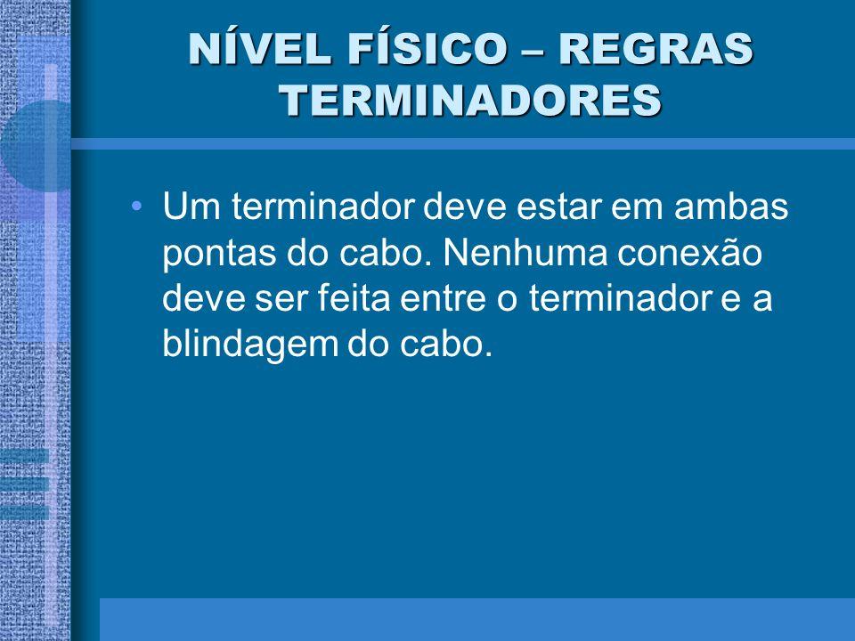 NÍVEL FÍSICO – REGRAS TERMINADORES Um terminador deve estar em ambas pontas do cabo. Nenhuma conexão deve ser feita entre o terminador e a blindagem d