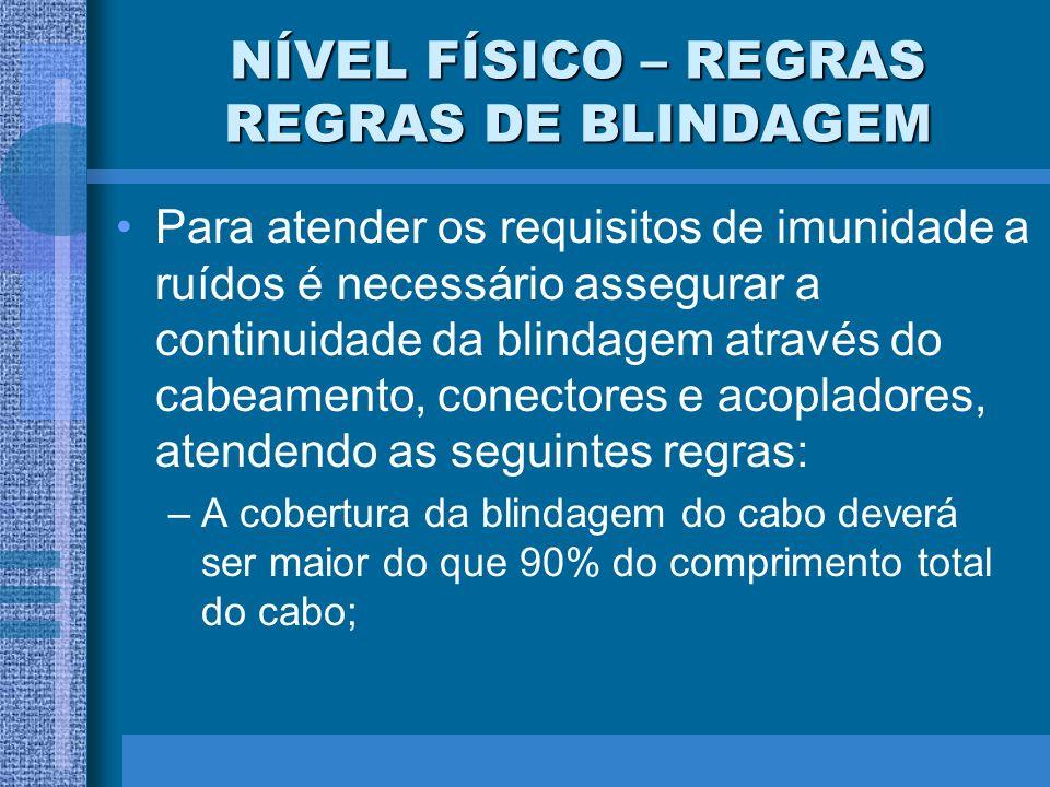 NÍVEL FÍSICO – REGRAS REGRAS DE BLINDAGEM Para atender os requisitos de imunidade a ruídos é necessário assegurar a continuidade da blindagem através