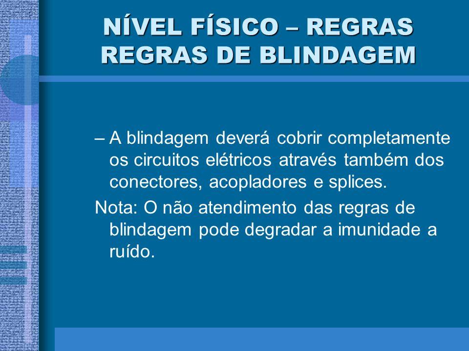 NÍVEL FÍSICO – REGRAS REGRAS DE BLINDAGEM –A blindagem deverá cobrir completamente os circuitos elétricos através também dos conectores, acopladores e