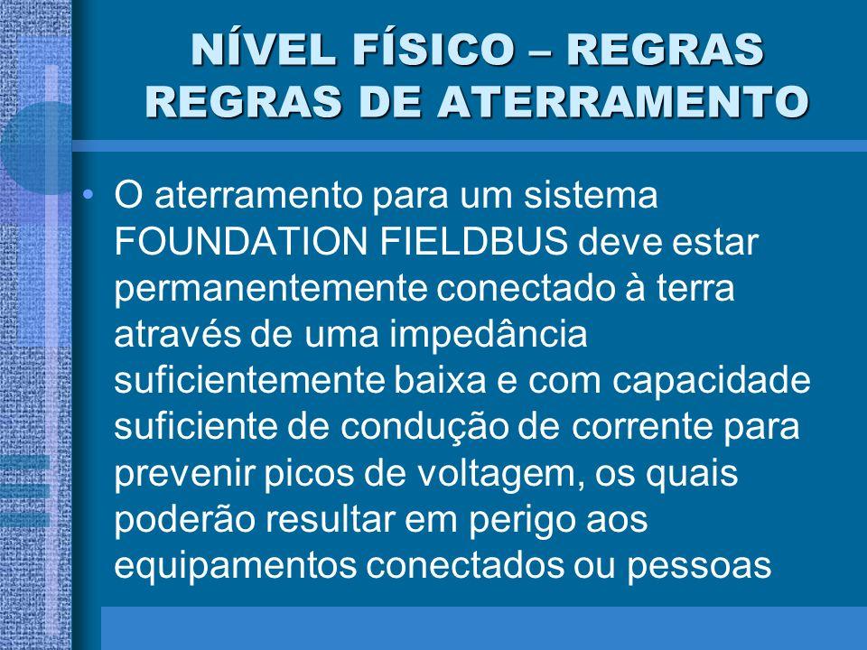 NÍVEL FÍSICO – REGRAS REGRAS DE ATERRAMENTO O aterramento para um sistema FOUNDATION FIELDBUS deve estar permanentemente conectado à terra através de