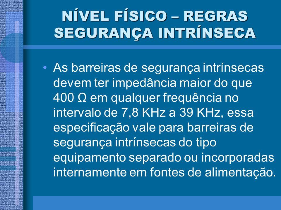 NÍVEL FÍSICO – REGRAS SEGURANÇA INTRÍNSECA As barreiras de segurança intrínsecas devem ter impedância maior do que 400 Ω em qualquer frequência no int