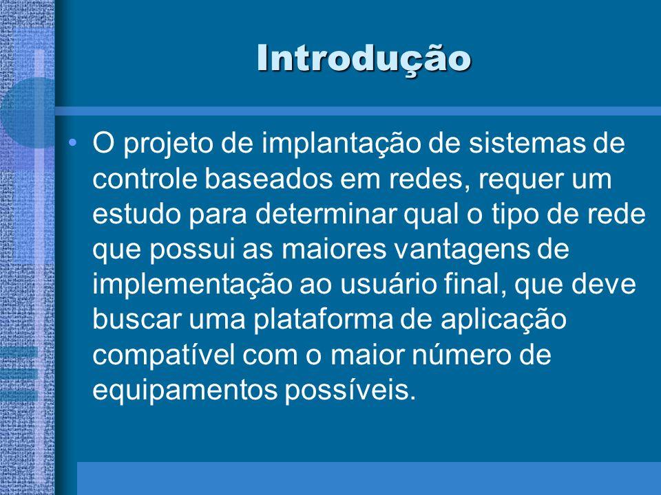 Introdução O projeto de implantação de sistemas de controle baseados em redes, requer um estudo para determinar qual o tipo de rede que possui as maio