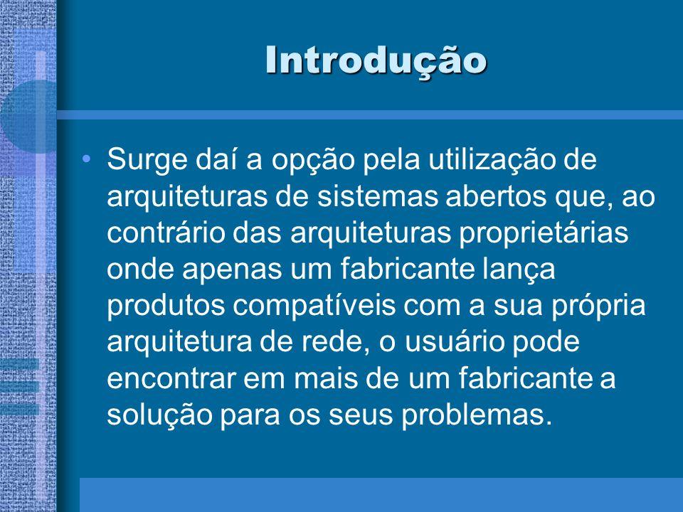 Introdução Surge daí a opção pela utilização de arquiteturas de sistemas abertos que, ao contrário das arquiteturas proprietárias onde apenas um fabri
